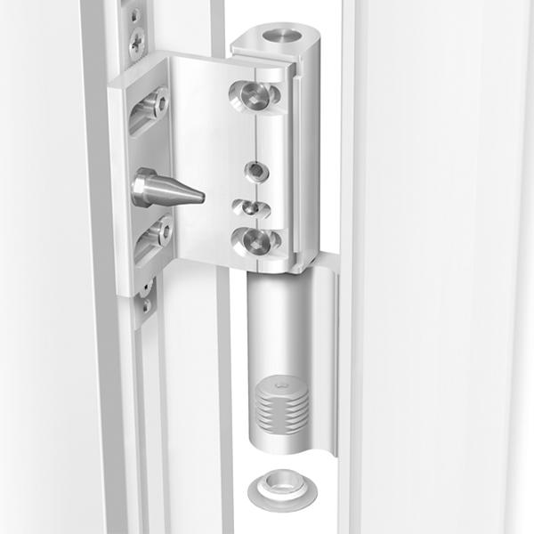 Cerniera per porte PVC a 2 ali KT-R Dr. Hahn montaggio su profilo vista su profilo aperto