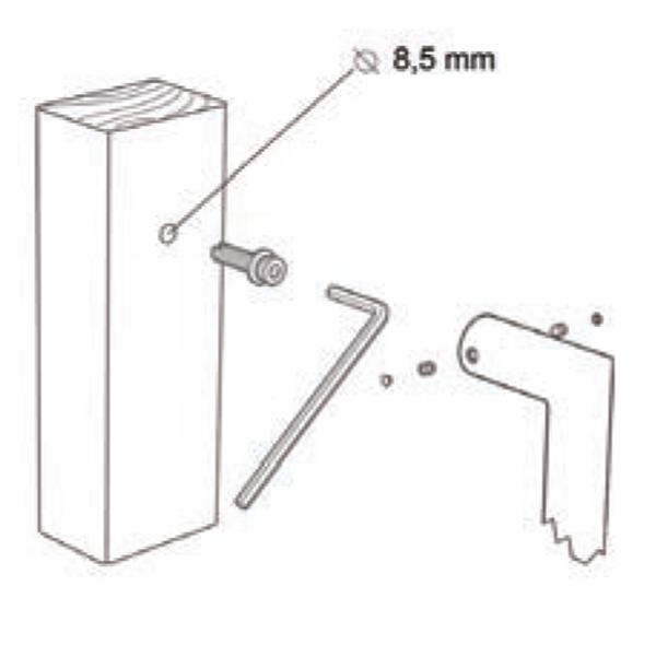 Kit fissaggio maniglione singolo per porte in legno - Tropex Design