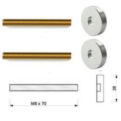 Kit fissaggio maniglione singolo per porte in legno, alluminio e vetro - Tropex Design