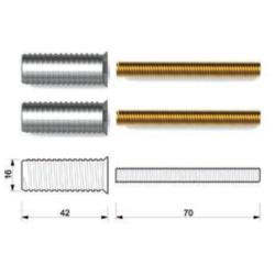 Kit fissaggio maniglione singolo per porte in alluminio con doppia camera - Tropex Design