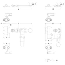 Spagnoletta persiana - Kit 2 ante con maniglia lunga, senza piastre di chiusura con griffe h=15 mm - Maico