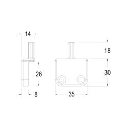 Piastra di chiusura R8 per spagnoletta persiana distanza= 0 e battuta 8 mm - Maico