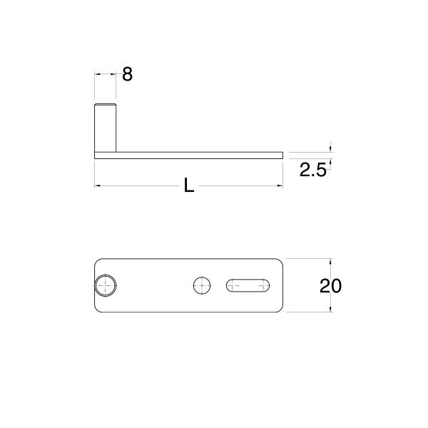 Piastra di chiusura persiana R7 40x14 con perno H=20mm nero opaco